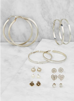 Metallic Stud and Hoop Earrings Set - 3122003202409