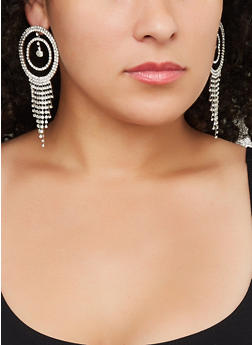 Rhinestone Circle Chandelier Earrings - 3122029360202