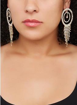 Rhinestone Circle Chandelier Earrings - 3122029360202
