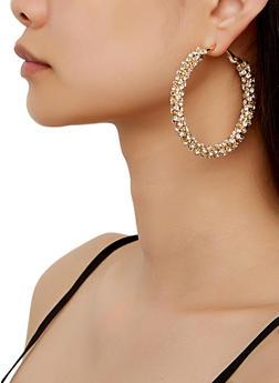Rhinestone Hoop Earrings   3122029362521 - 3122029362521