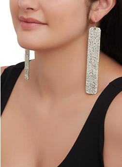 Rhinestone Stick Drop Earrings - 3122029363062