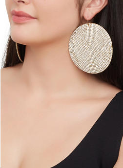 Oversized Rhinestone Disc Earrings - 3122029363064