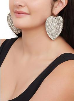 Rhinestone Heart Drop Earrings - 3122029363084