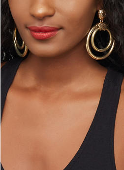 Metallic Double Hoop Drop Earrings - 3122029363826