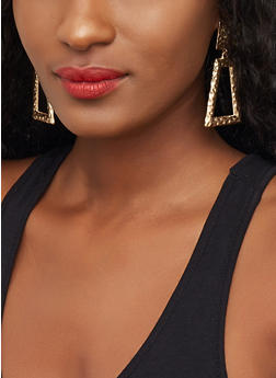 Hammered Trapeze Drop Earrings - 3122029364048