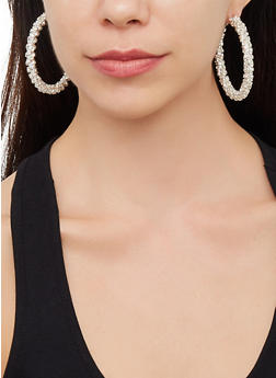 Rhinestone Encrusted Hoop Earrings | 3122029364144 - 3122029364144