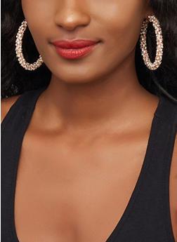Rhinestone Encrusted Hoop Earrings | 3122029364144 - 3122029364144