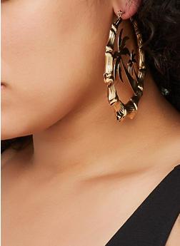 Palm Tree Metallic Bamboo Hoop Earrings - 3122029364240