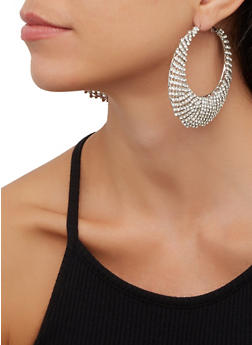 Rhinestone Crescent Hoop Earrings - 3122029365605