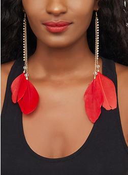 Feather Rhinestone Drop Earrings - 3122029365987