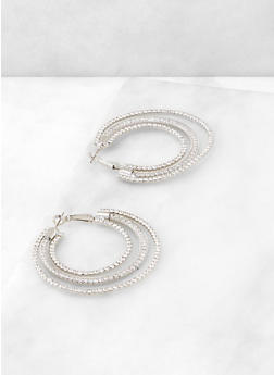 Triple Layer Rhinestone Hoop Earrings - 3122029366943