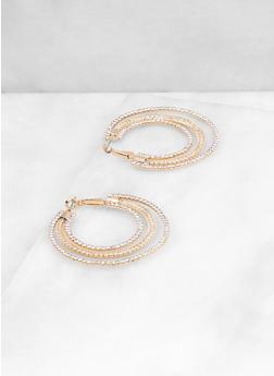 Triple Layer Rhinestone Hoop Earrings - 3122029366943