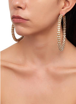 Metallic Mesh Rhinestone Hoop Earrings - 3122029367003