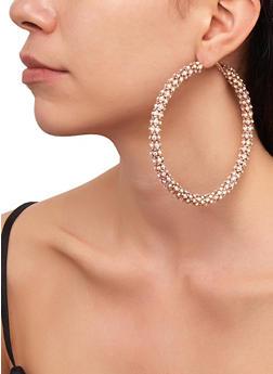Rhinestone Metallic Mesh Hoop Earrings - 3122029367004
