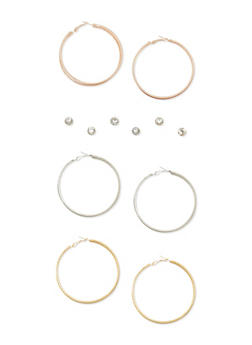 Set of 6 Glitter Hoop and Rhinestone Earrings - 3122035150661