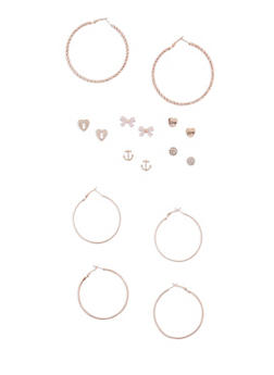 9 Piece Assorted Stud and Hoop Earring Set - 3122035152357