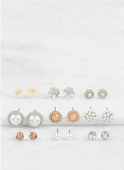 Assorted Faux Pearl Stud Earrings Set - 3122035152547