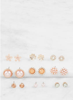 Assorted Faux Pearl Stud Earrings Set - 3122035152547