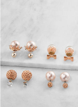 Faux Pearl Reversible Earrings - 3122035152552