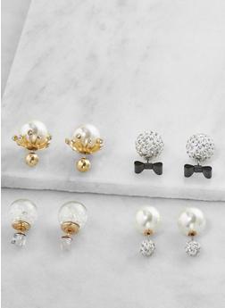 Faux Pearl Reversible Earrings - 3122035152552