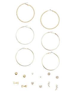 9 Piece Textured Stud and Hoop Earrings Set - 3122035152806
