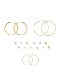 Set of 9 Assorted Stud and Hoop Earrings Set - 3122035154132