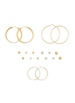 Set of 9 Basic Assorted Stud and Hoop Earrings Set - 3122035154132