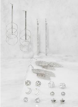 Set of 9 Assorted Metallic Earrings - 3122035155232
