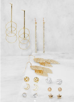 Set of 9 Assorted Metallic Earrings - 3122035155232