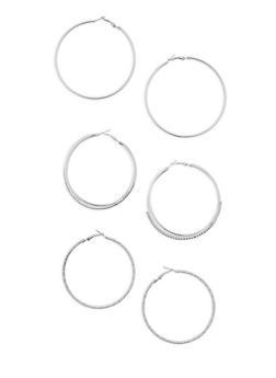 Rhinestone Hoop Earrings Trio - 3122035155491