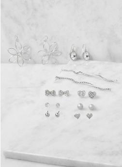 Assorted Set of Metallic Rhinestone Earrings - 3122035155862