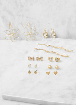 Assorted Set of Metallic Rhinestone Earrings - 3122035155862