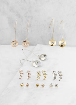 Assorted Set of 9 Threader and Stud Earrings - 3122035155869