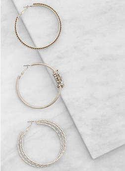 Rhinestone Hoop Earrings Trio - 3122035155978