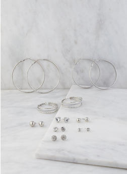 Assorted Set of Metallic Hoop and Stud Earrings - 3122035157482