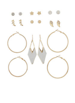 Set of 9 Glitter Rhinestone Earrings - 3122035157967