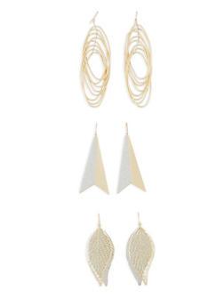 Glitter Metallic Drop Earring Trio - 3122035158314