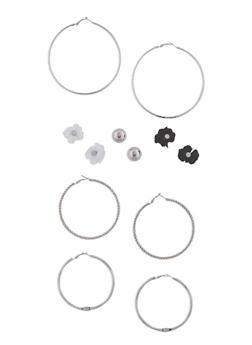 Set of 6 Textured Hoop and Stud Earrings Set - 3122035158969