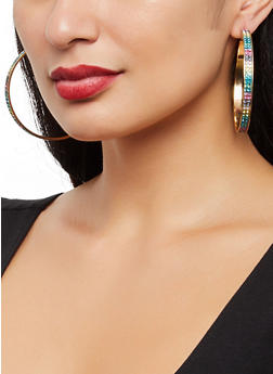 Rhinestone and Metallic Hoop Earring Trio - 3122057690384