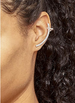 Metallic Rhinestone Ear Cuffs - 3122057690607