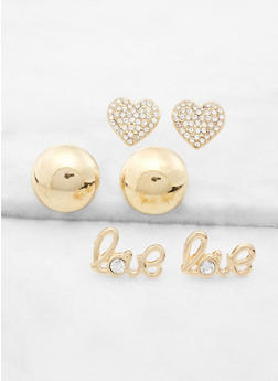 Love and Heart Stud Earring Trio - 3122057691364