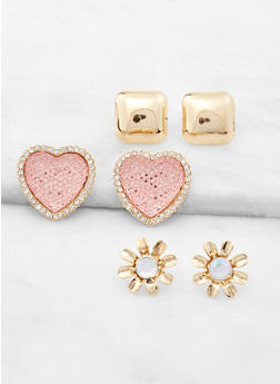 Heart and Flower Stud Earring Trio - 3122057691365