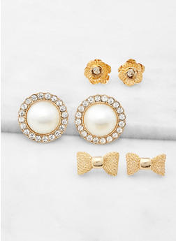 Faux Pearl and Bow Stud Earring Trio - 3122057691367