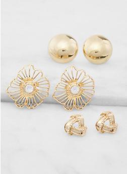 Oversized Flower Stud Earring Trio - 3122057691370