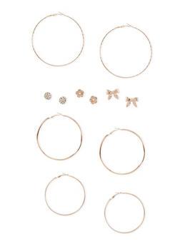 Set of 6 Assorted Rhinestone and Textured Hoop Earrings - 3122057691675