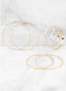 Glitter and Textured Hoop Earring Trio - 3122057691723