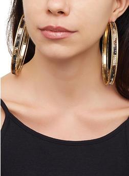6 Assorted Oversized Hoop and Stud Earrings - 3122057692195