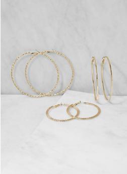 Textured Metallic Hoop Earrings Trio - 3122057692317