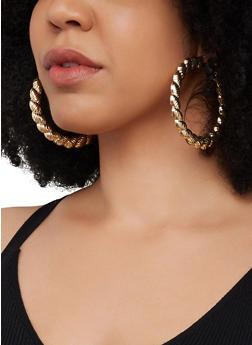 Metallic Textured Hoop Earrings   3122057692608 - 3122057692608