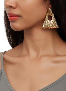 Textured Metallic Pyramid Earrings - 3122057692631